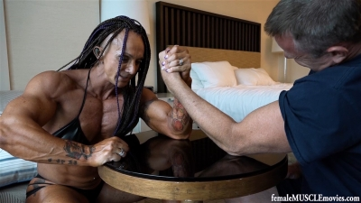 Janeen and James arm wrestling and comparisons