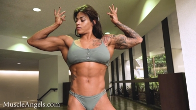 Mikaela Lindsay gorgeous physique full body flexing